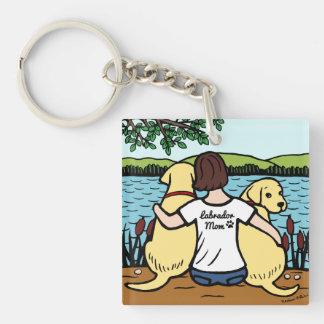 Dos Labradors amarillo y mamá Llavero Cuadrado Acrílico A Doble Cara
