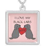 Dos Labradors negro con el dibujo animado del amor Joyería