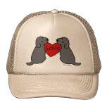 Dos Labradors negro con el dibujo animado del amor Gorro