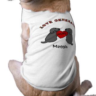 Dos Labradors negro con el dibujo animado del amor Camiseta De Perrito