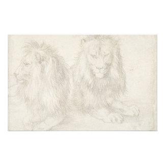 Dos leones asentados de Albrecht Durer Papeleria De Diseño