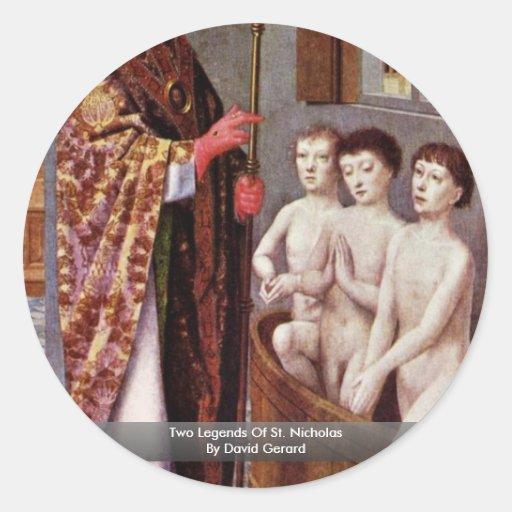 Dos leyendas de San Nicolás de David Gerard Pegatina Redonda
