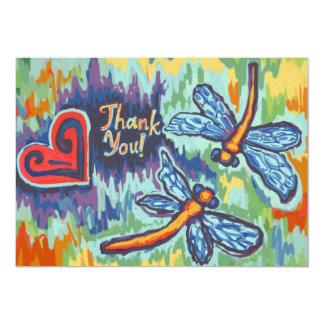 """Dos libélulas, gracias las tarjetas invitación 5"""" x 7"""""""