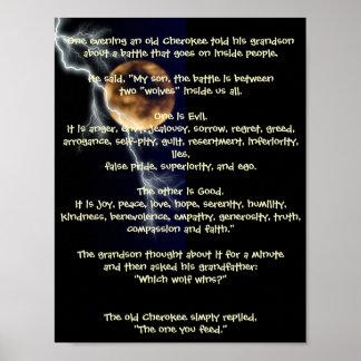 Dos lobos - metáfora del nativo americano póster