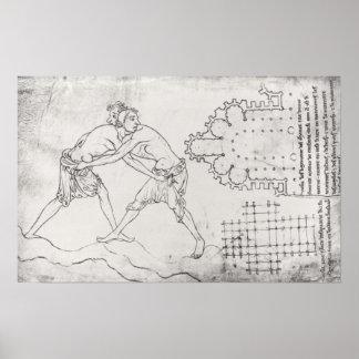 Dos luchadores, plan de una iglesia cisterciense póster