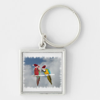 Dos macaw Santas Llavero Cuadrado Plateado