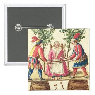Dos magos venecianos que asierran a una mujer por  pin cuadrado