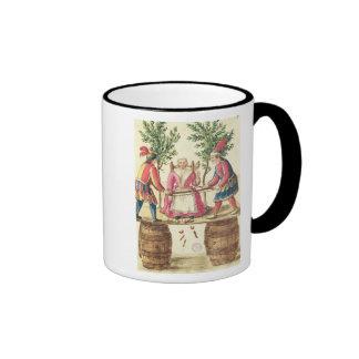 Dos magos venecianos que asierran a una mujer por  tazas de café