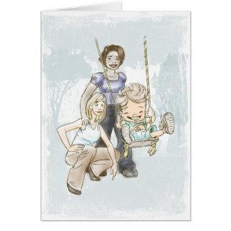 Dos mamáes - niño de balanceo tarjeta de felicitación