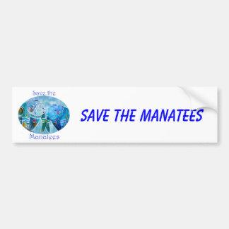 Dos Manatees de la reserva en azules de océano ova Pegatina De Parachoque