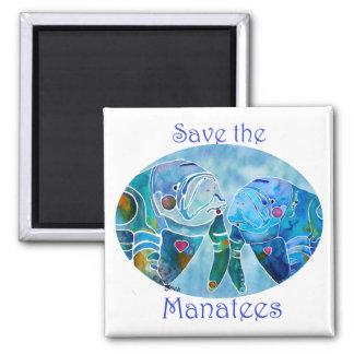 Dos Manatees de la reserva en azules de océano ova Imán Cuadrado