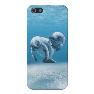Dos Manatees que nadan iPhone 5 Protectores