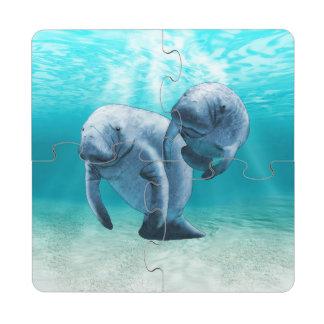 Dos Manatees que nadan Posavasos De Puzzle