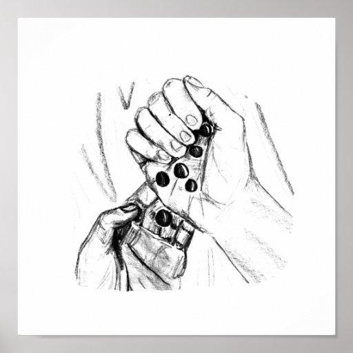 Dos manos con los mármoles que vierten bosquejo de impresiones