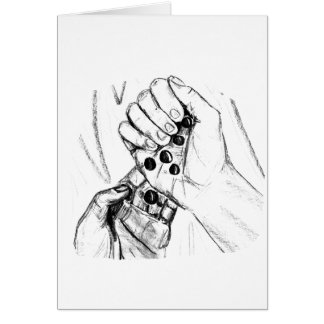 Dos manos con los mármoles que vierten bosquejo tarjeta pequeña