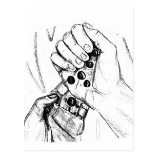 Dos manos con los mármoles que vierten bosquejo tarjetas postales