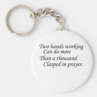 Dos manos que trabajan… llavero redondo tipo pin