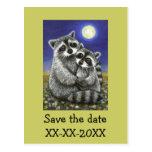 Dos mapaches enojado en amor postales