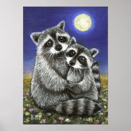 Dos mapaches enojado en la impresión del amor poster