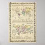 Dos mapas del mundo impresiones