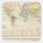 Dos mapas del mundo pegatinas cuadradases