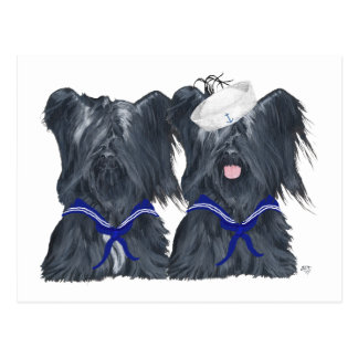 Dos marineros de Skye Terrier Tarjetas Postales
