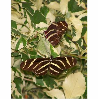 Dos mariposas de la cebra en follaje escultura fotográfica