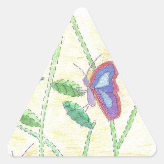 Dos mariposas en bosque pegatina triangular