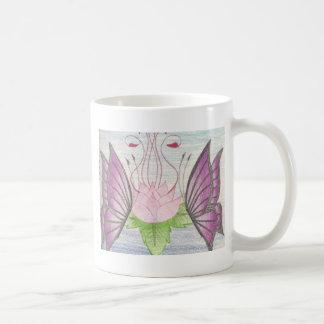 dos mariposas por un loto taza