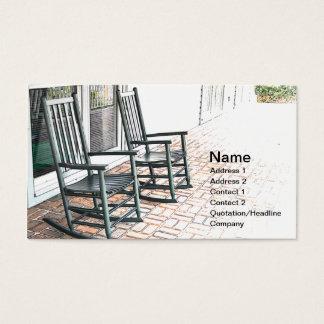 dos mecedoras de madera negras al aire libre tarjetas de visita