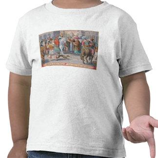 Dos monjes presentan los gusanos de seda pasados d camisetas