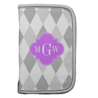 Dos monograma inicial blanco gris de la lila 3 del planificadores