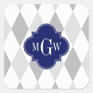 Dos monograma inicial blanco gris de la marina de pegatina cuadrada