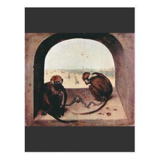 Dos monos de Pieter Bruegel Tarjeta Postal