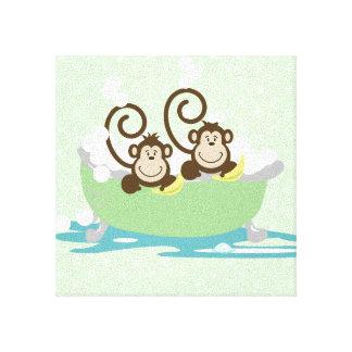 Dos monos tontos en una impresión del arte de la l lienzo envuelto para galerías