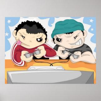 Dos muchachos que juegan al videojuego - poster