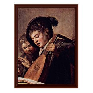 Dos muchachos que juegan música de Hals Francisco Tarjeta Postal