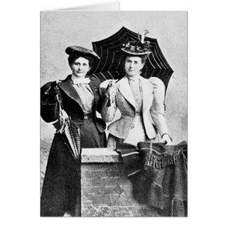 Dos mujeres del Victorian, 1898 Tarjeta Pequeña