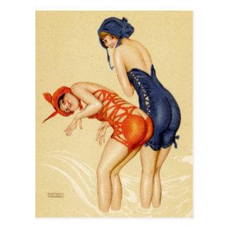 Dos mujeres en los bañadores - Pin del vintage par Postal
