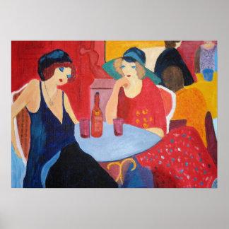Dos mujeres en un café - impresión póster