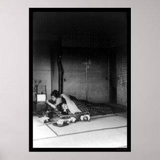 Dos mujeres en un dormitorio japonés 1909 impresiones