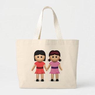 Dos mujeres que llevan a cabo las manos Emoji Bolsa De Tela Grande