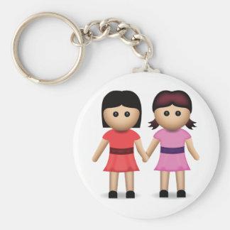 Dos mujeres que llevan a cabo las manos Emoji Llavero Redondo Tipo Pin