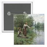 Dos mujeres que pescan el botón - caballero de Dan Pins