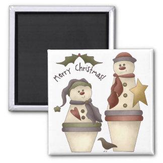 Dos muñecos de nieve lindos:: Diseño de las Felice Imán Cuadrado