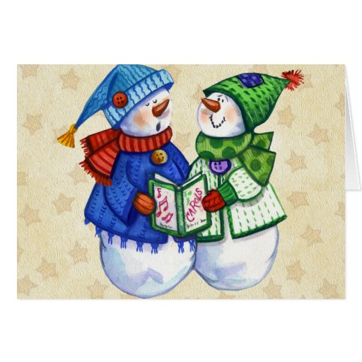 Dos muñecos de nieve que cantan tarjeta