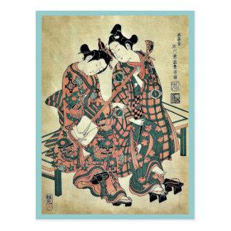 Dos músicos que llevan el geta por Ishikawa, Toyon Postal