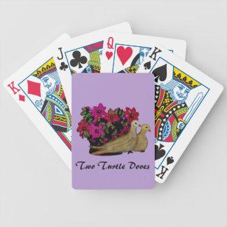 Dos naipes de las palomas de la tortuga baraja de cartas