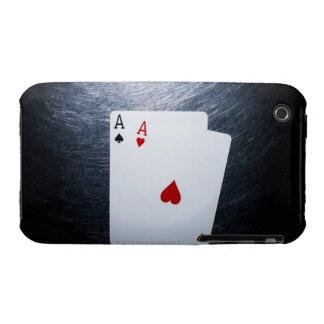 Dos naipes de los as en el acero inoxidable Case-Mate iPhone 3 protectores