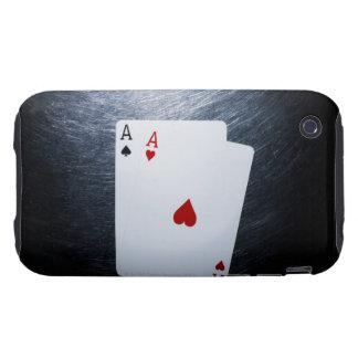 Dos naipes de los as en el acero inoxidable tough iPhone 3 carcasa